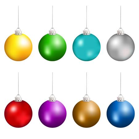 Illustration pour Christmas balls in different colors hanging. Vector illustration. - image libre de droit