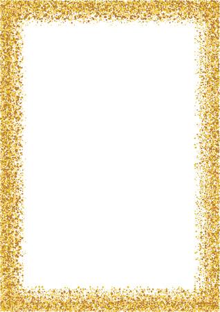 Illustration pour Golden glitter frame a4 format size. Glittering sparkle frame on white vector background. - image libre de droit