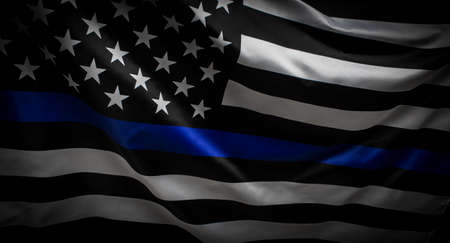Photo pour Thin Blue Line Wavy American Flag in Support of Police and Law Enforcement - image libre de droit