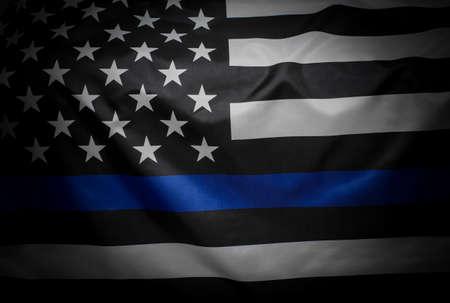 Photo pour Thin Blue Line Wavy American Flag - image libre de droit