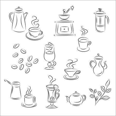 Illustration pour Set of Sketches &quot, Coffee and Tea &quot,  - image libre de droit