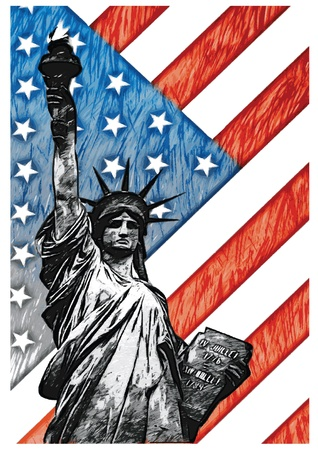 Staue of Liberty with American Flag