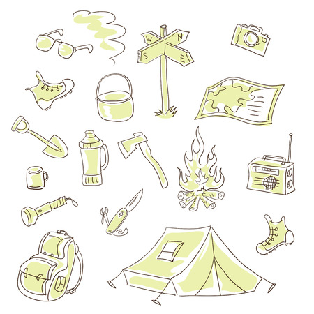 Set of vector elements on the theme of travel and tourism