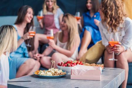 Foto de Beautiful Women Friends Having Fun At Bachelorette Party - Imagen libre de derechos
