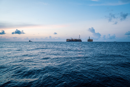 Photo for FPSO tanker vessel near Oil Rig platform. Offshore oil and gas industry - Royalty Free Image
