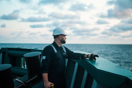 Photo for Marine Deck Officer or Chief mate on deck of offshore vessel or ship - Royalty Free Image