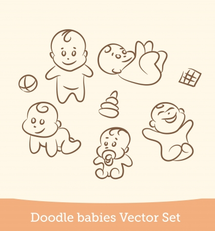 Illustration for doodle baby set - Royalty Free Image