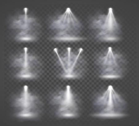 Illustration pour Vector light sources and smoke, concert lighting, stage spotlights set. - image libre de droit