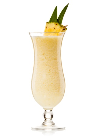 Pina colada drink cocktail glass isolated on white background