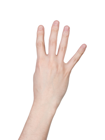 Photo for Male hand finger number isolated on white background - Royalty Free Image