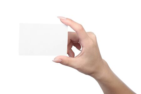 Photo pour Empty sheet of paper in female hand with manicure isolated on white - image libre de droit