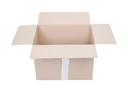 Photo for Open empty cardboard box isolated on white background - Royalty Free Image