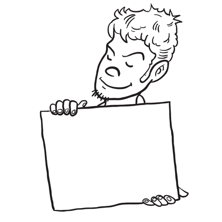 young man holding banner cartoon illustration isolated on white