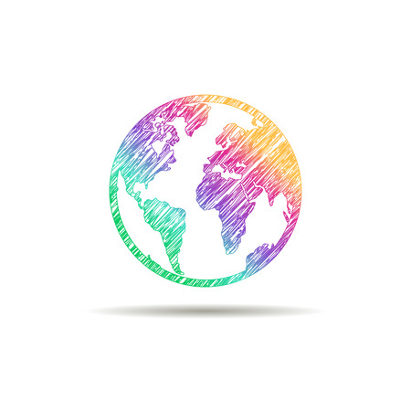 Illustration for Earth logo. Globe logo icon. Abstract globe logo template. Round globe shape and earth globe symbol, technology icon, geometric globe logo. - Royalty Free Image