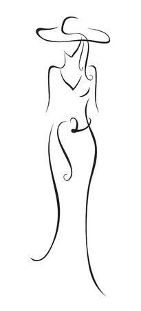 The stylized figure of the woman in a hat