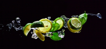 lime and lemon pieces with leaves of mint