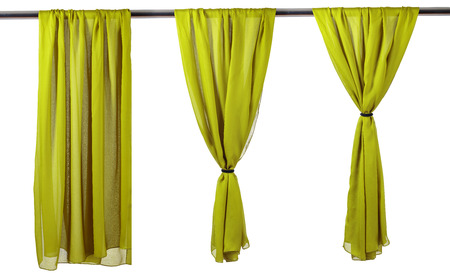Photo pour Vertica lgreen satin curtains isolated on white background. - image libre de droit