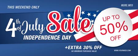 Illustration pour Independence day sale banner template design - image libre de droit