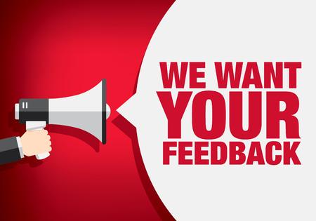 Illustration pour We want your feedback. Hand holding megaphone - image libre de droit