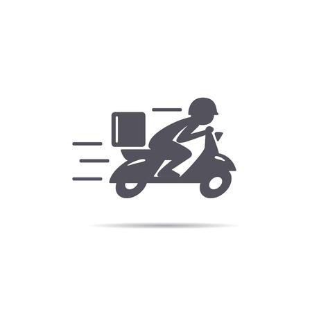 Illustration pour A man is riding a scooter. Delivery icon - image libre de droit