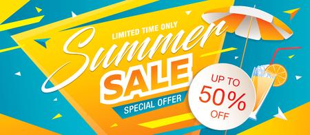 Illustration pour Summer sale template banner, vector illustration - image libre de droit