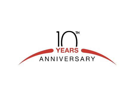 Illustration pour 10th anniversary emblem. Ten years anniversary celebration symbol - image libre de droit