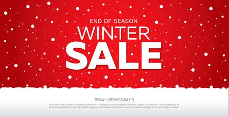 Ilustración de winter sale banner template design, vector illustration - Imagen libre de derechos