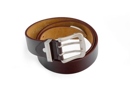 Men's leather brown belt with iron buckle - isolated