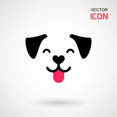 Illustration pour Dog head icon. Flat style. Cartoon dog face. Vector illustration isolated on white. Silhouette simple. Animal Logotype concept. Logo design template. - image libre de droit