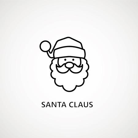 Illustration pour santa claus face beard moustache happy xmas christmas new year outline thin line vector icon black on white background - image libre de droit