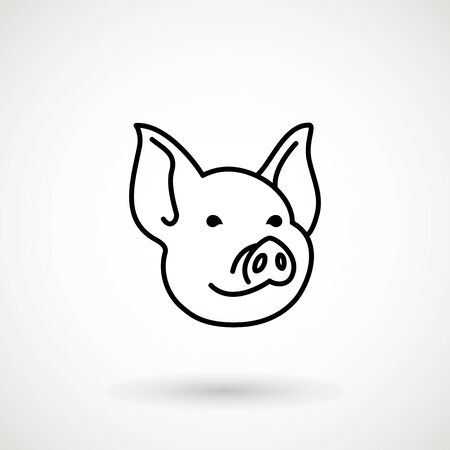 Illustration pour Pig line icon. Icon Piglet face in outline style. Icon of Cartoon pig head. Chinese New Year 2019. Zodiac. Chinese traditional Design, decoration Vector illustration. - image libre de droit