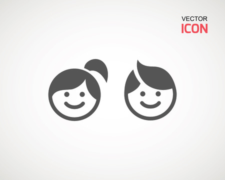 Ilustración de girl and boy icon on white background. child symbol . Kids icons , children vector illustration - Imagen libre de derechos