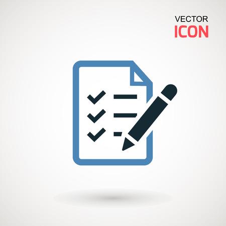 Illustration pour Checklist icon. Declarations linear icon. Flat illustration of clipboard with checklist - image libre de droit