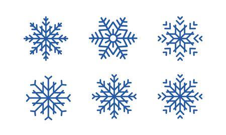 Illustration pour Blue snowflakes set new year vector design. set of blue snowflakes on white background. - image libre de droit