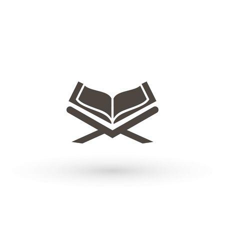 Illustration pour Quran Moslem Academy logo icon vector Koran islam islamic muslim religion silhouette icon logo symbol - image libre de droit