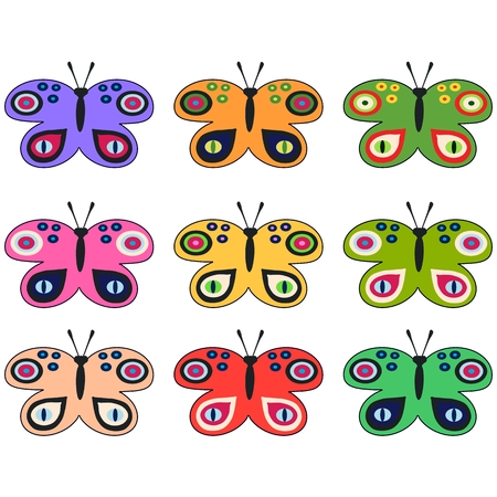 Ilustración de Set of colored decorative butterflies - Imagen libre de derechos