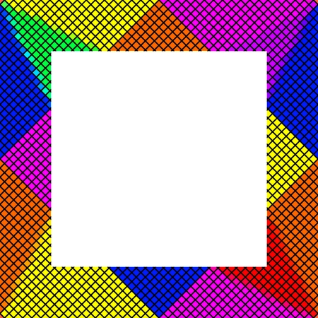 Pixelated frame in vibrant rainbow colors