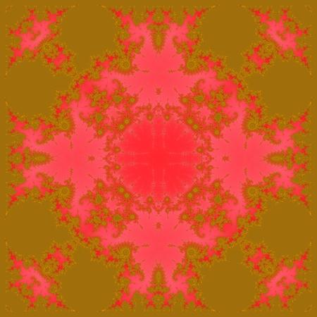 Gold red fractal decorative tileable pattern  digitally rendered design