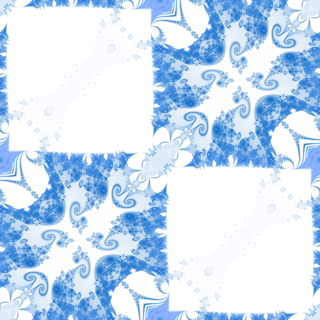 Abstract decorative blue white monochromatic fractal tile