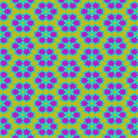 Abstract seamless kaleidoscopic yellow blue purple geometric pattern in op art style