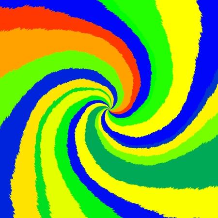 Glowing radial spiral in op art style