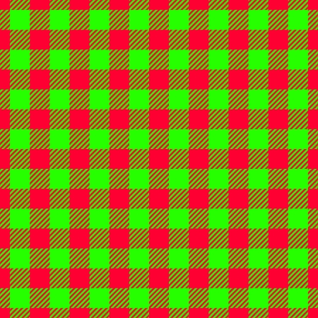Abstract red green seamless checkered fabric texture