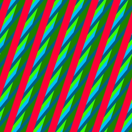 Abstract red green blue striped seamless oblique pattern
