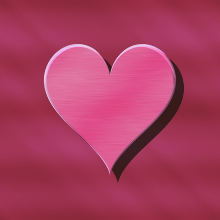 One large heart with his own shadow on seamless background in pastel colors.