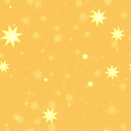 Small suns or stars on gold yellow background - seamless digitally rendered geometric pattern