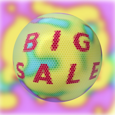 Square banner with inscription big sale. Hexagon mosaic style surface on large ball.