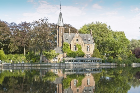 Minnewater lake  It is a canalized lake in Bruges, Belgium  The Dutch word Minne meaning love