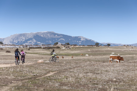Children cycling in nature. Photo taken in Dehesa de Navalvillar, Colmenar Viejo, Madrid, Spain.