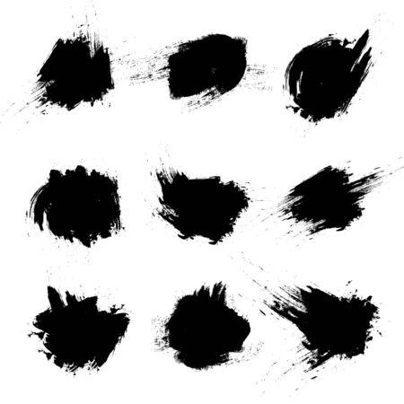 Illustration pour Set of vector black brush strokes on white background. - image libre de droit