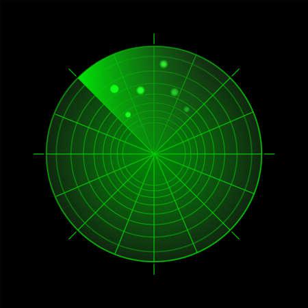 Illustration pour Radar screen with targets. Green sonar system on black background. Target detection. Technology HUD display. - image libre de droit